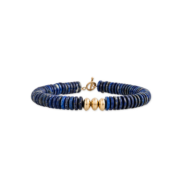 GOLD BEADS + LAPIS BEADED TOGGLE BRACELET