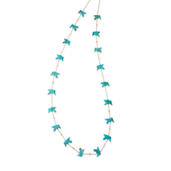 TURQUOISE 19 HUMMINGBIRD NECKLACE
