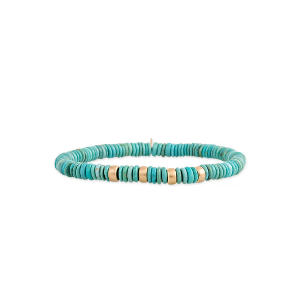 4 SPACED OUT GOLD BEADS + TURQUOISE BEADED STRETCH BRACELET