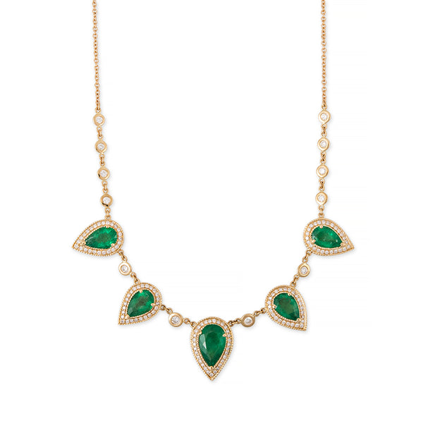 5 PAVE EMERALD TEARDROP DIAMOND NECKLACE