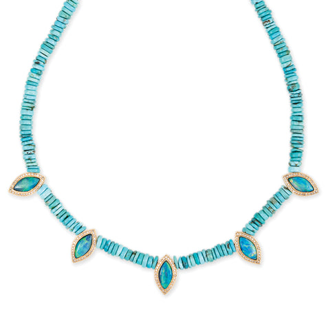 5 PAVE OPAL MARQUISE HEISHI TURQUOISE BEADED NECKLACE