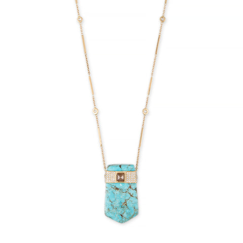 TURQUOISE + SQUARE RAW DIAMOND PAVE CAP NECKLACE