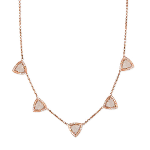 5 SPACED OUT PARTIAL PAVE MORGANITE PYRAMID NECKLACE
