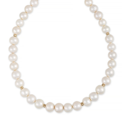 PAVE RONDELLE FRESHWATER PEARL BEADED NECKLACE