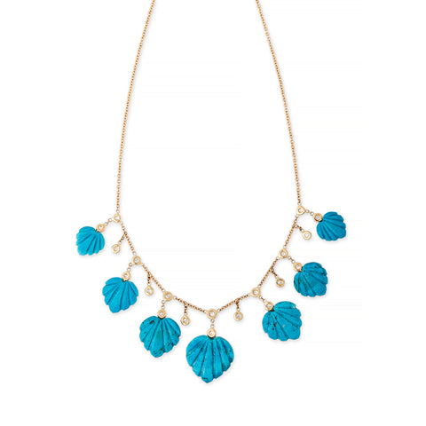 TURQUOISE DECO TEARDROP DIAMOND SHAKER NECKLACE