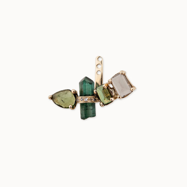 4 GREEN TOURMALINE AND SMOKET QUARTZ EAR JACKET