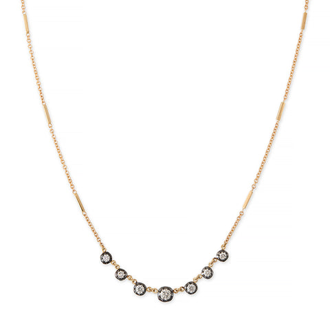 BLACK RHODIUM 7 GRADUATED SOPHIA DIAMOND SMOOTH BAR NECKLACE