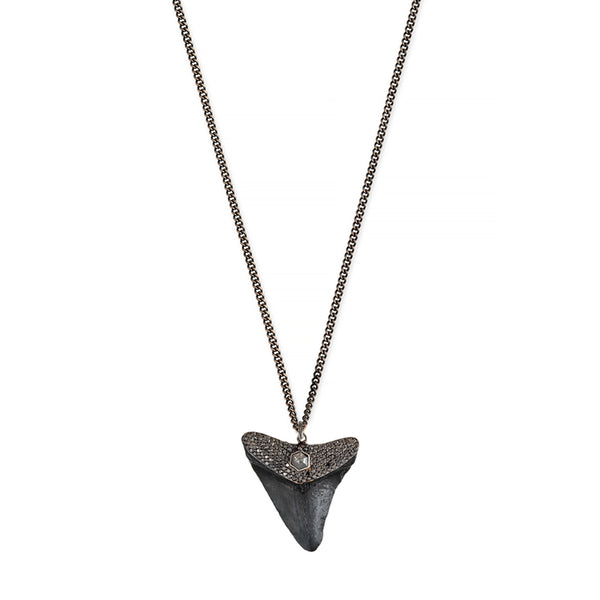 LARGE PAVE BLACK HEXAGON DIAMOND CENTER CAP SHARK TOOTH CHARM CURB CHAIN NECKLACE