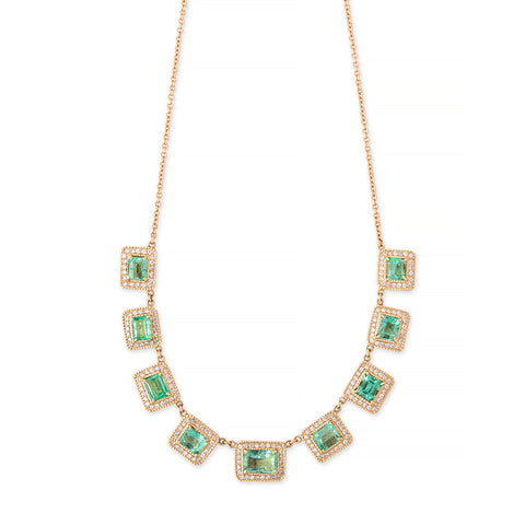 9 PAVE DIAMOND EMERALD BAGUETTE NECKLACE