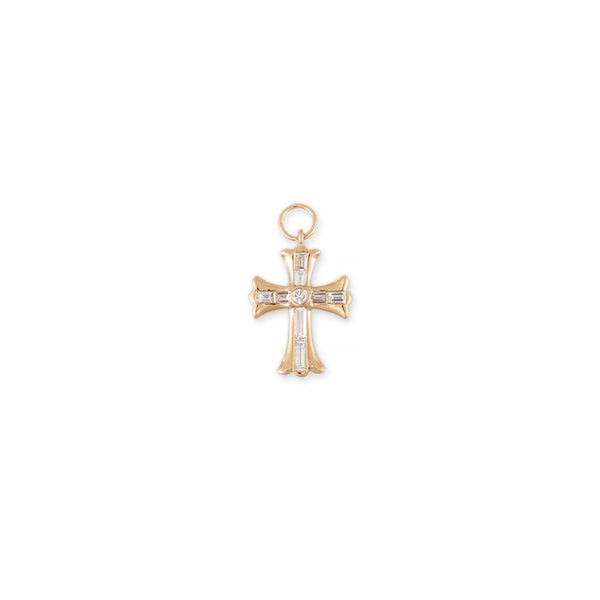 DIAMOND BAGUETTE GOTHIC CROSS CHARM