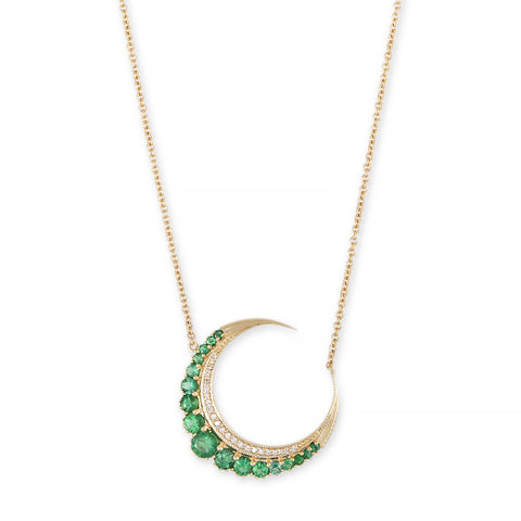 LARGE EMERALD CRESCENT MOON NECKLACE