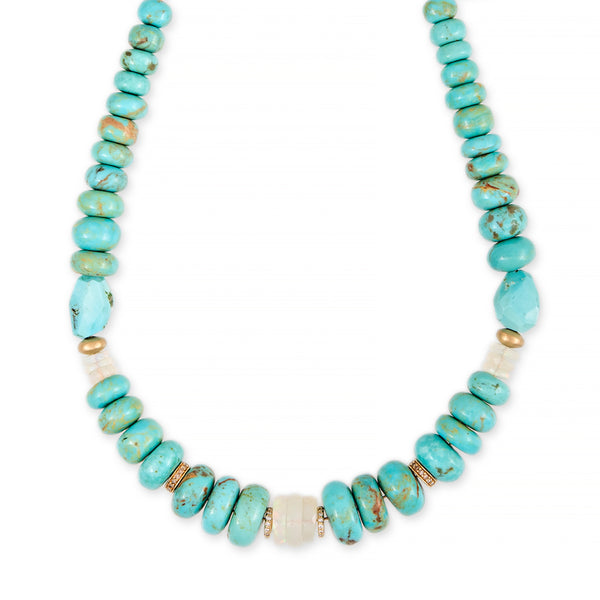 TURQUOISE + OPAL PAVE RONDELLE BEADED NECKLACE