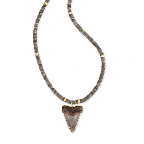 LARGE SHARK TOOTH + GOLD AND LABRADORITE BEADED NECKLACE