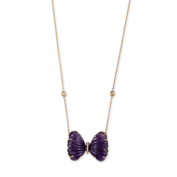 LARGE BUBBLE AMETHYST PAVE CENTER BUTTERFLY NECKLACE
