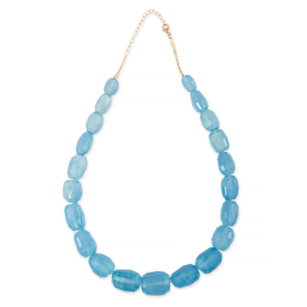 LARGE FACETED AQUAMARINE BEADED NECKLACE
