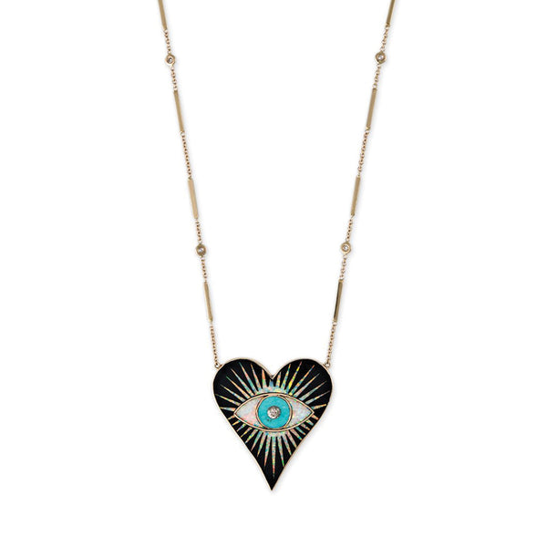 LARGE ONYX OPAL TURQUOISE INLAY EYE BURST HEART NECKLACE