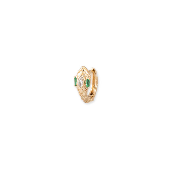 EMERALD EYES MARQUISE DIAMOND HEAD SNAKE MINI HOOP