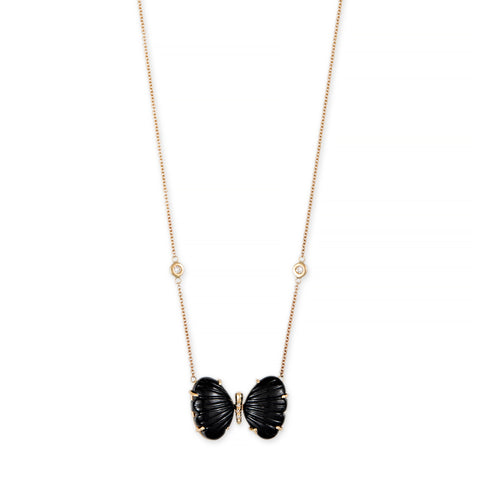 MEDIUM BUBBLE ONYX PAVE CENTER BUTTERFLY NECKLACE
