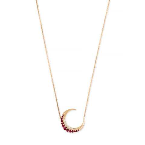 MINI RUBY CRESCENT MOON NECKLACE