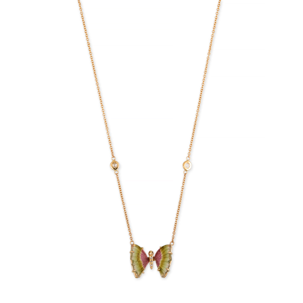 MINI GREEN + PINK WATERMELON TOURMALINE PAVE CENTER BUTTERFLY NECKLACE