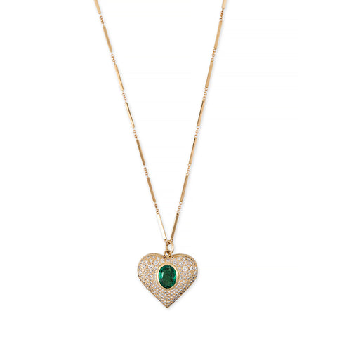 PAVE DIAMOND EMERALD HEART SMOOTH BAR NECKLACE
