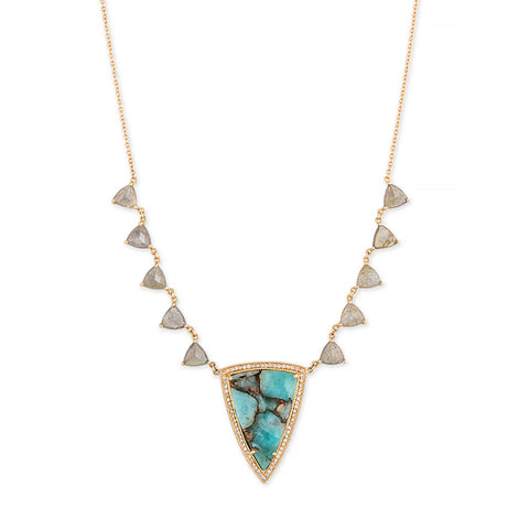 PAVE AMAZONITE TRIANGLE + LABRADORITE TRILLION NECKLACE