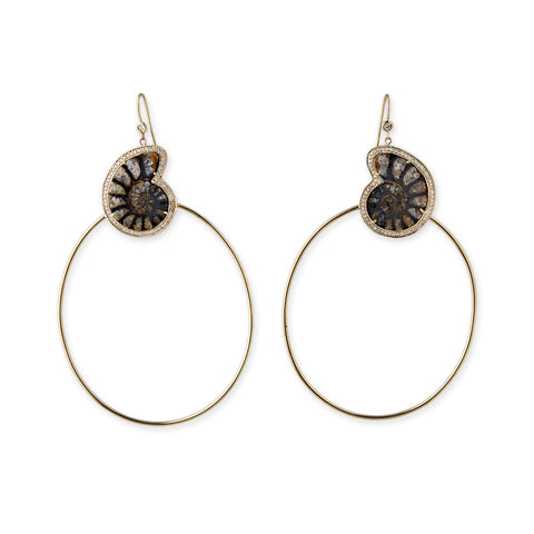 PAVE + AMMONITE FOSSIL HOOPS