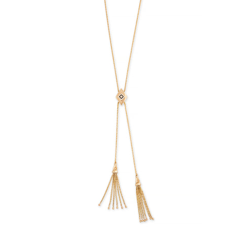 PAVE KITE ROPE CHAIN BOLO TASSEL NECKLACE