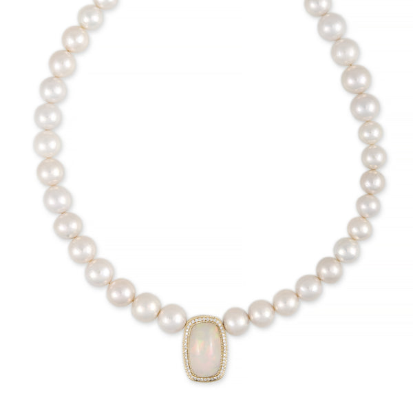 PAVE OPAL ROUNDED RECTANGLE CENTER FRESHWATER PEARL BEADED NECKLACE