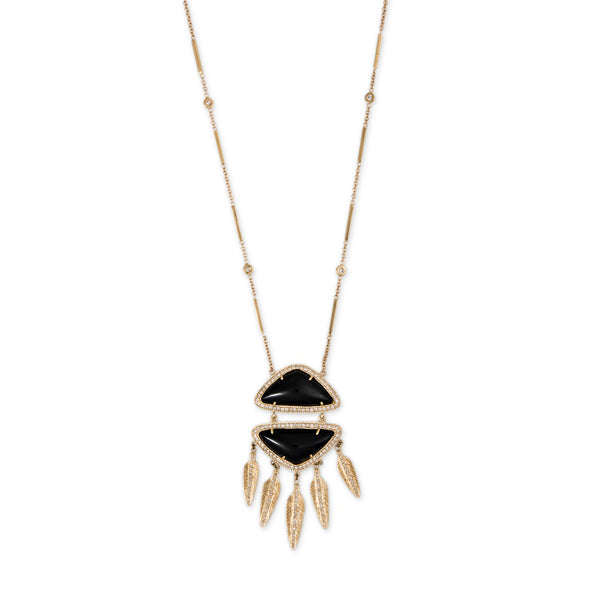 ONYX PAVE DIAMOND DOUBLE TRIANGLE FEATHER SHAKER NECKLACE