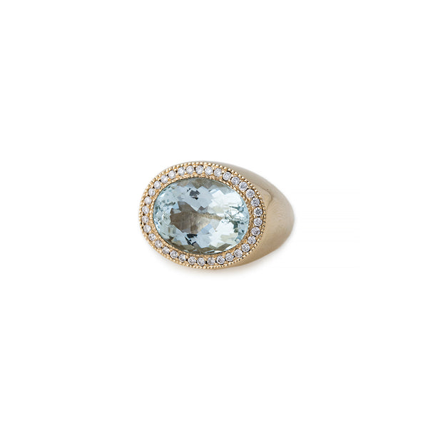 PAVE OVAL FACETED AQUAMARINE RING