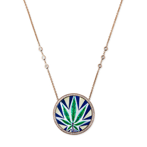 PAVE SWEET LEAF OPAL INLAY 6 DIAMOND CHAIN