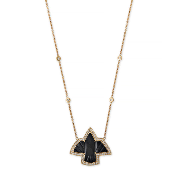 PAVE SMALL ONYX THUNDERBIRD NECKLACE