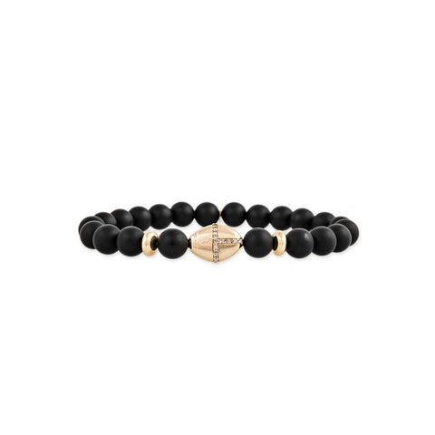 PAVE EYE AND SCARAB BEAD + GOLD AND BLACK HEMATITE BEADED STRETCH BRACELET