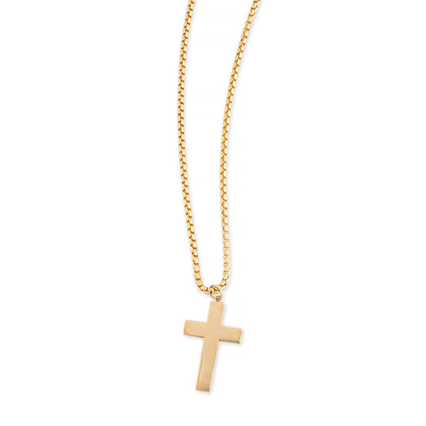PAVE DIAMOND SIDES CROSS CHARM BOX CHAIN NECKLACE