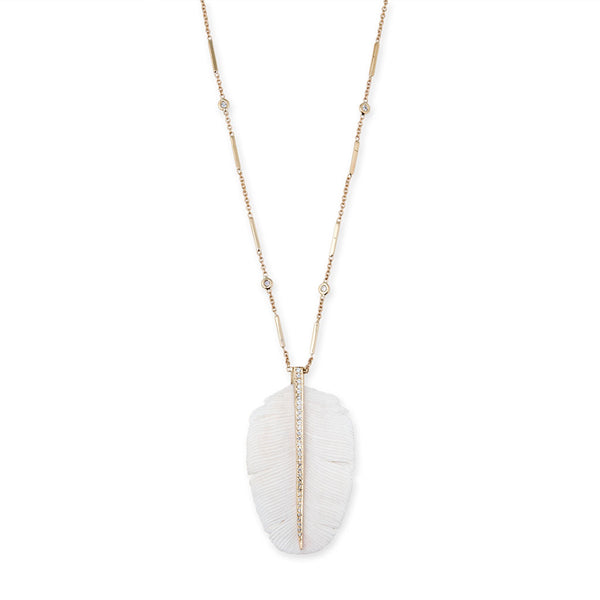 PAVE WHITE FEATHER NECKLACE