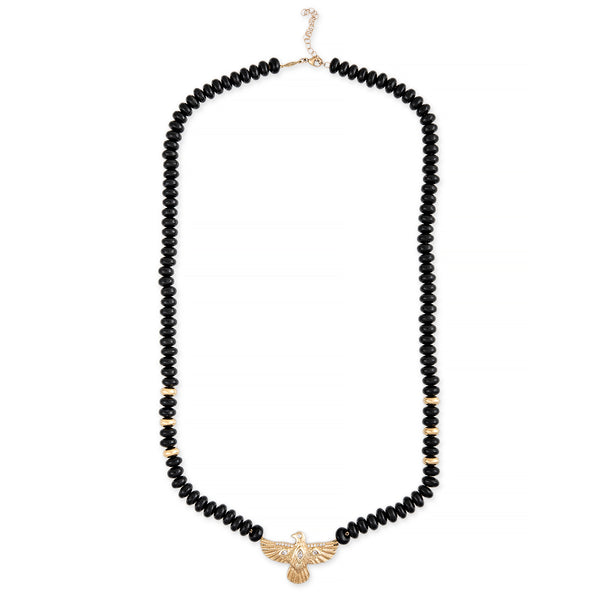 DIAMOND THUNDERBIRD + GOLD AND ONYX BEADED NECKLACE