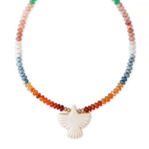 BONE THUNDERBIRD DIAMOND RONDELLE MULTI COLOR OPAL BEADED NECKLACE