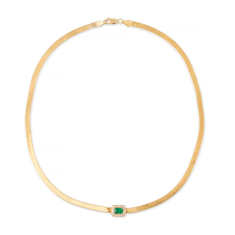 PAVE EMERALD BAGUETTE HERRINGBONE NECKLACE