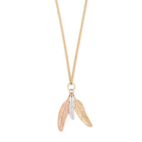 TRIPLE PAVE FEATHER CHARM CURB CHAIN NECKLACE