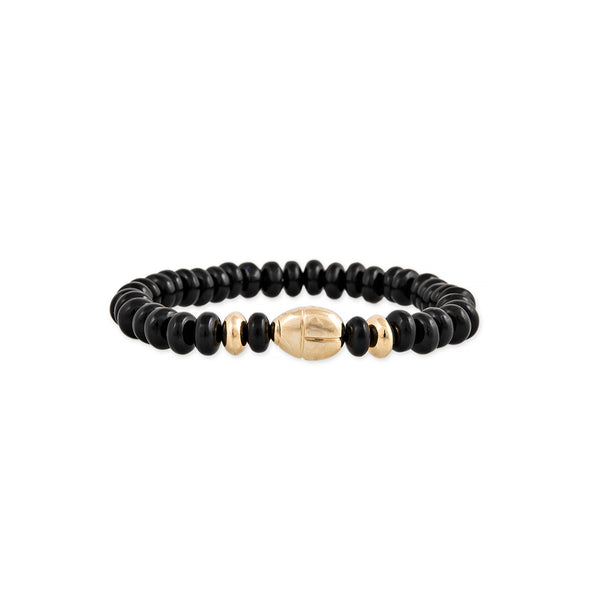 SCARAB + GOLD AND ONYX BEADED STRETCH BRACELET