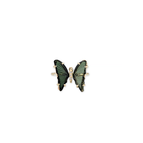 SMALL GREEN TOURMALINE PAVE DIAMOND BUTTERFLY RING