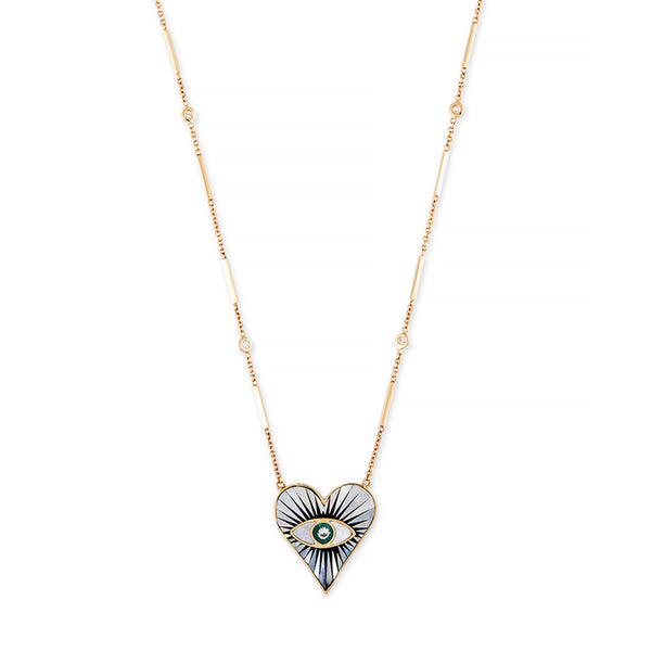 SMALL PEARL ONYX TURQUOISE INLAY EYE BURST HEART NECKLACE