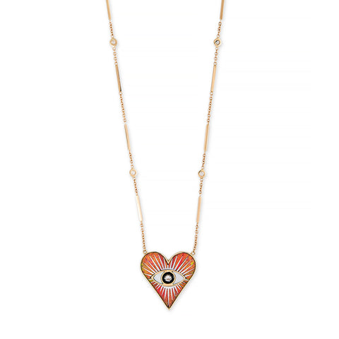 SMALL ORANGE OPAL INLAY EYE BURST HEART NECKLACE