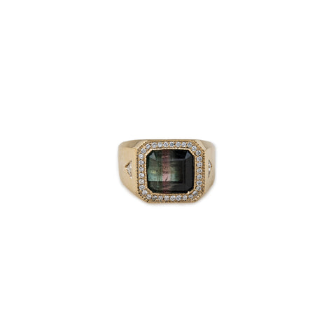 PAVE WATERMELON TOURMALINE + DIAMOND TRILLION SIGNET RING