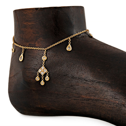 ALTERNATING TEARDROP + ROUND KITE DIAMOND SHAKER ANKLET