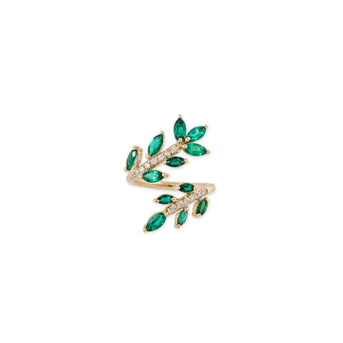 PAVE EMERALD MARQUISE VINE WRAP RING