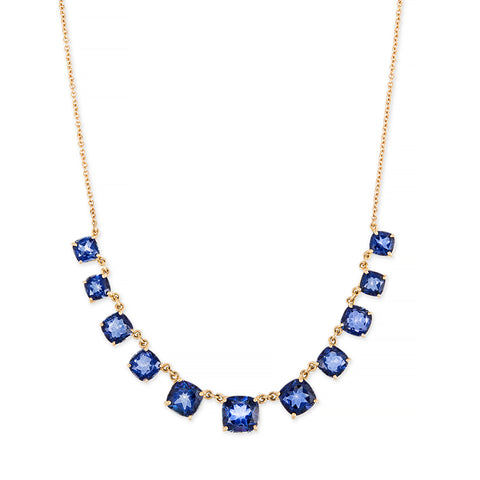 GRADUATED CUSHION DEEP BLUE TOPAZ NECKLACE