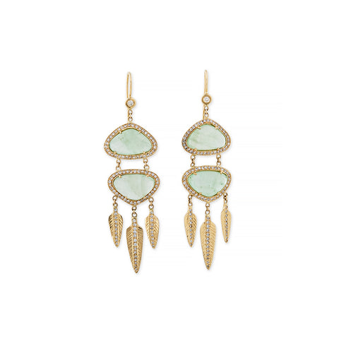 GREEN CALCITE DREAM CATCHER EARRINGS