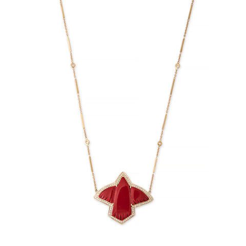 PAVE RED JASPER THUNDERBIRD NECKLACE